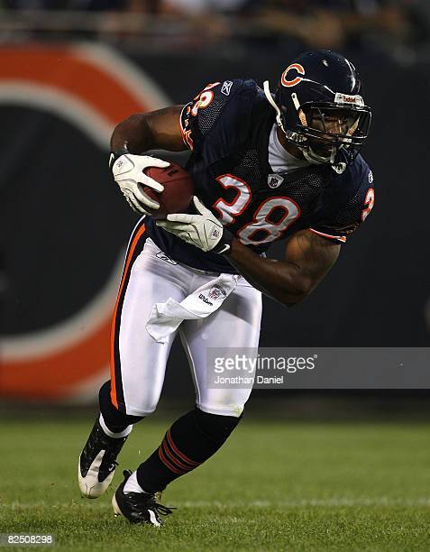 Danieal Manning of the Chicago Bears returns a kick for 55 yards against the San Francisco 49ers on August 21 2008 at Soldier Field in Chicago...