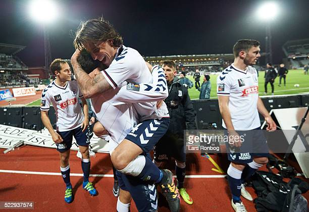 Daniel A Pedersen of AGF Aarhus celebrates after the Danish Cup DBU Pokalen semifinal match between AGF Aarhus and AaB Aalborg at Ceres Park on April...