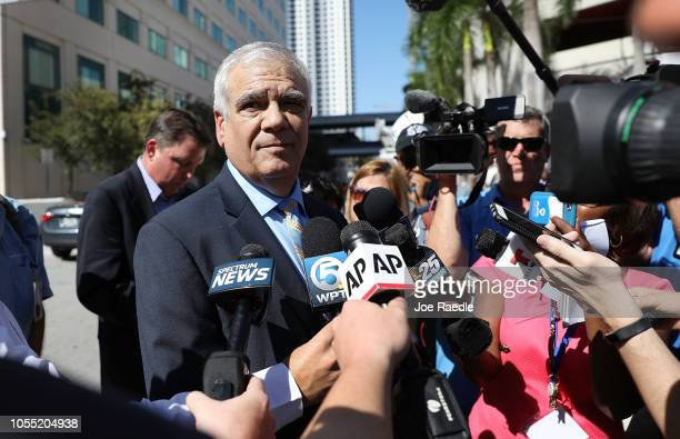 Daniel Aaronson from the Benjamin Aaronson Edinger Patanzo PA law firm speaks to the media outside the Federal District court for the Southern...
