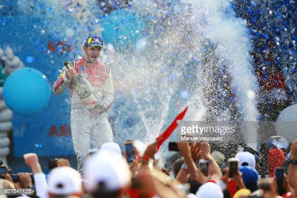 Daniel Abt from Germany of Audi Sport Abt Schaeffler celebrates after winning the Mexico EPrix as part of the Formula E Championship at Autodromo...