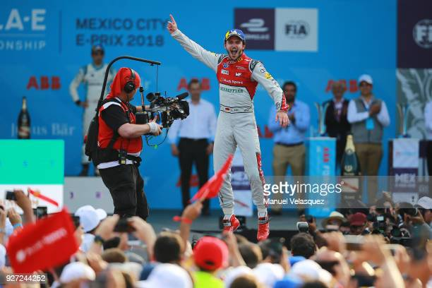 Daniel Abt of Germany and Audi Sport Abt Schaeffler celebrates after winning the Mexico EPrix as part of the Formula E Championship at Autodromo...