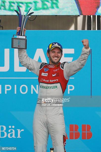 Daniel Abt of Germany and Audi Sport Abt Schaeffler celebrates whit his trophy after winning the Mexico EPrix as part of the Formula E Championship...