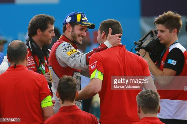Daniel Abt of Germany and Audi Sport Abt Schaeffler celebrates with his team after winning the Mexico EPrix as part of the Formula E Championship at...