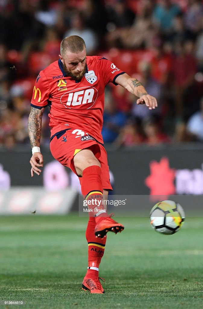 Daniel Adlung of Adelaide United during the round 19 A-League match between Adelaide United and the Perth Glory at Coopers Stadium on February 3, 2018 in Adelaide, Australia.