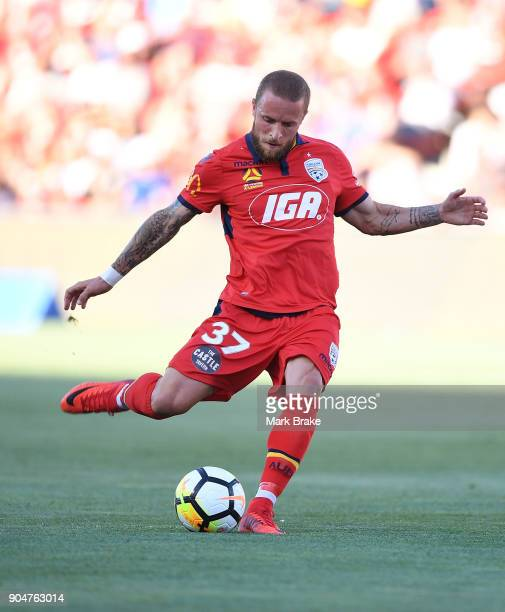 Daniel Adlung of Adelaide United takes a free kick a goal during the round 16 ALeague match between Adelaide United and Sydney FC at Coopers Stadium...