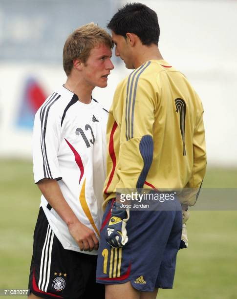 Daniel Adlung of Germany comes head to head with Antonio Adan of Spain during the UEFA Under 19 qualification round between Germany and Spain at the...