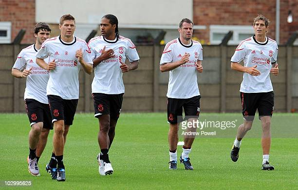 Daniel Agger Glen Johnson Jamie Carragher and Steven Gerrard in action during a Liverpool FC training session at Melwood Training Ground on July 20...