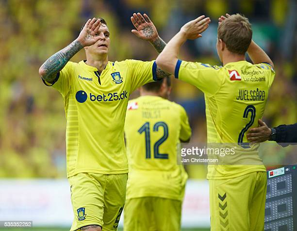 Daniel Agger of Brondby IF leaving the pitch during the Danish Alka Superliga match between Brondby IF and SonderjyskE at Brondby Stadion on May 29,...