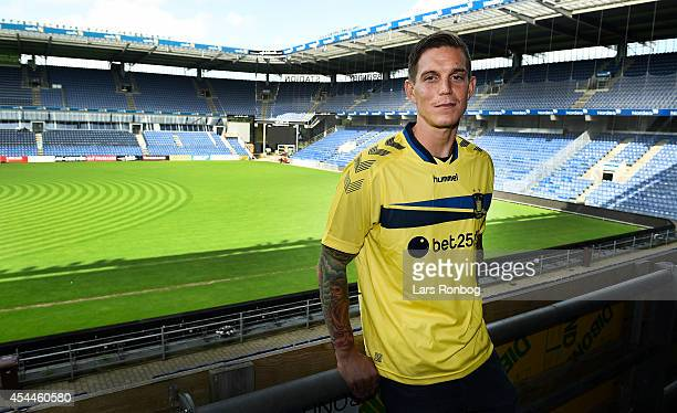 Daniel Agger of Brondby IF speaks to the media at the Brondby IF Press Conference at Brondby Stadion on September 1, 2014 in Brondby, Denmark.