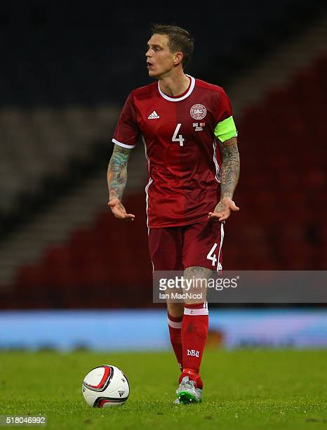 Daniel Agger of Denmark controls the ball during the International Friendly match between Scotland and Denmark at Hampden Park on March 29 2016 in...