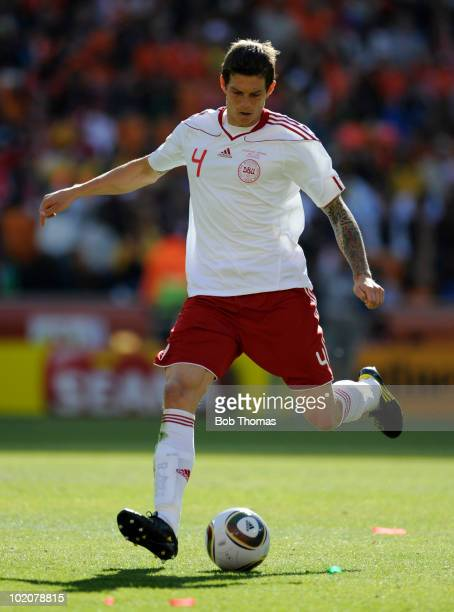 Daniel Agger of Denmark during the 2010 FIFA World Cup Group E match between Netherlands and Denmark at Soccer City Stadium on June 14 2010 in...