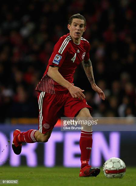 Daniel Agger of Denmark in action during the FIFA 2010 group one World Cup Qualifying match between Denmark and Hungary at the Parken stadium on...