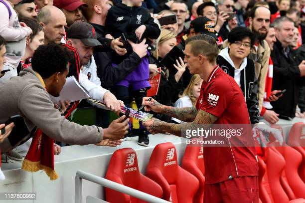 Daniel Agger of Liverpool FC Legends showing his appreciation to the fans at the end of the friendly match between Liverpool FC Legends and AC Milan...