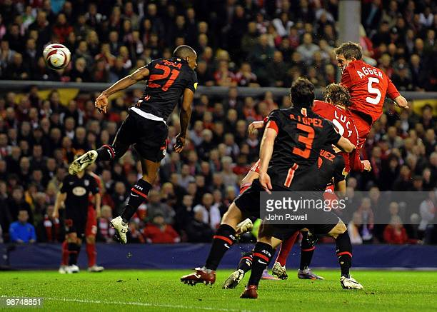 Daniel Agger of Liverpool scores an offside goal during the UEFA Europa League SemiFinal Second Leg match between Liverpool FC and Atletico Madrid at...