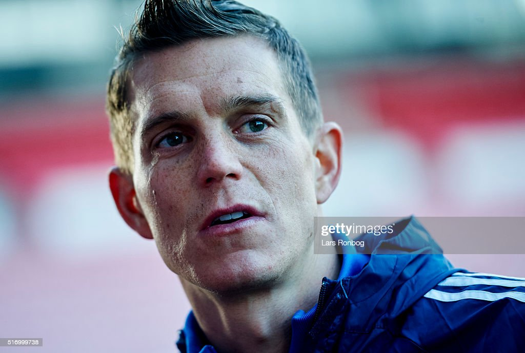Daniel Agger speaks to the media prior to the Denmark training session at MCH Arena on March 22, 2016 in Herning, Denmark.