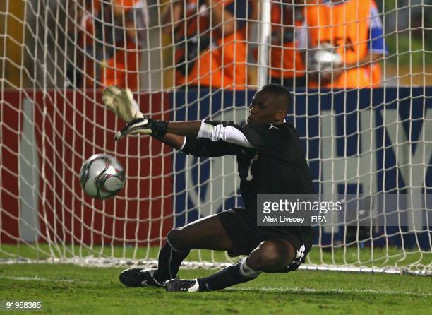 Daniel Agyei of Ghana saves a penalty against Alex Teixeira of Brazil during a penalty shoot out against Brazil in the FIFA U20 World Cup Final...