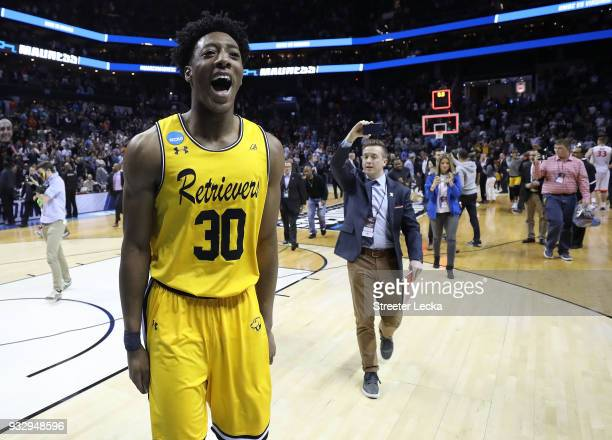 Daniel Akin of the UMBC Retrievers reacts to their 7454 victory over the Virginia Cavaliers during the first round of the 2018 NCAA Men's Basketball...