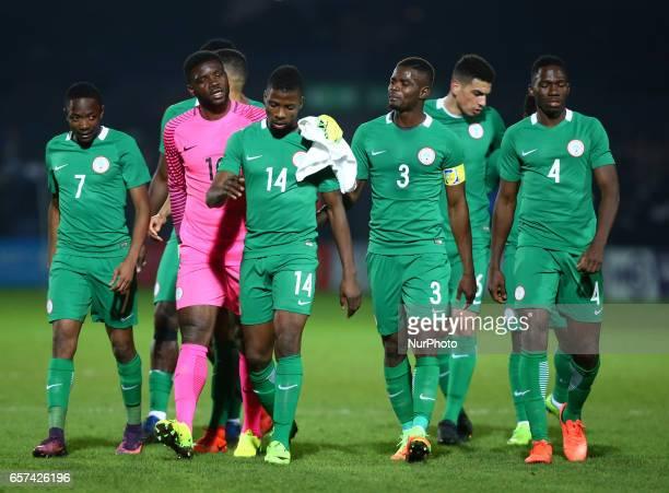 LR Daniel Akpeyi Ahmed Musa Kelechi Iheanacho Kenneth Omeruo of Nigeria during International Friendly match between Nigeria against Senegal at The...