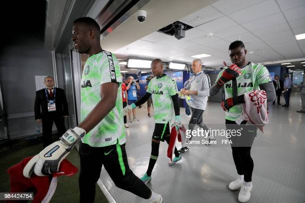 Daniel Akpeyi and Francis Uzoho of Nigeria walk in the tunnel before warm up prior to the 2018 FIFA World Cup Russia group D match between Nigeria...