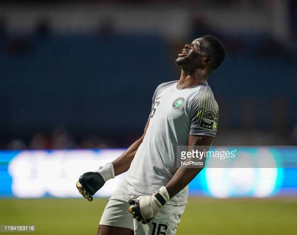 Daniel Akpeyi of Nigeria celebrating Nigeria scoring to 32 during the 2019 African Cup of Nations match between Cameroon and Nigeria at the...
