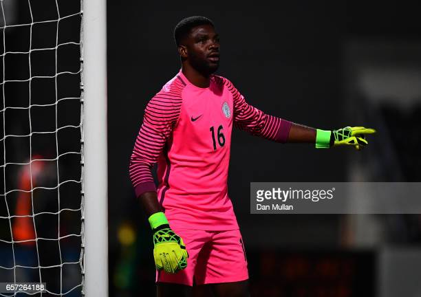 Daniel Akpeyi of Nigeria reacts during the International Friendly match between Nigeria and Senegal at The Hive on March 23 2017 in Barnet England