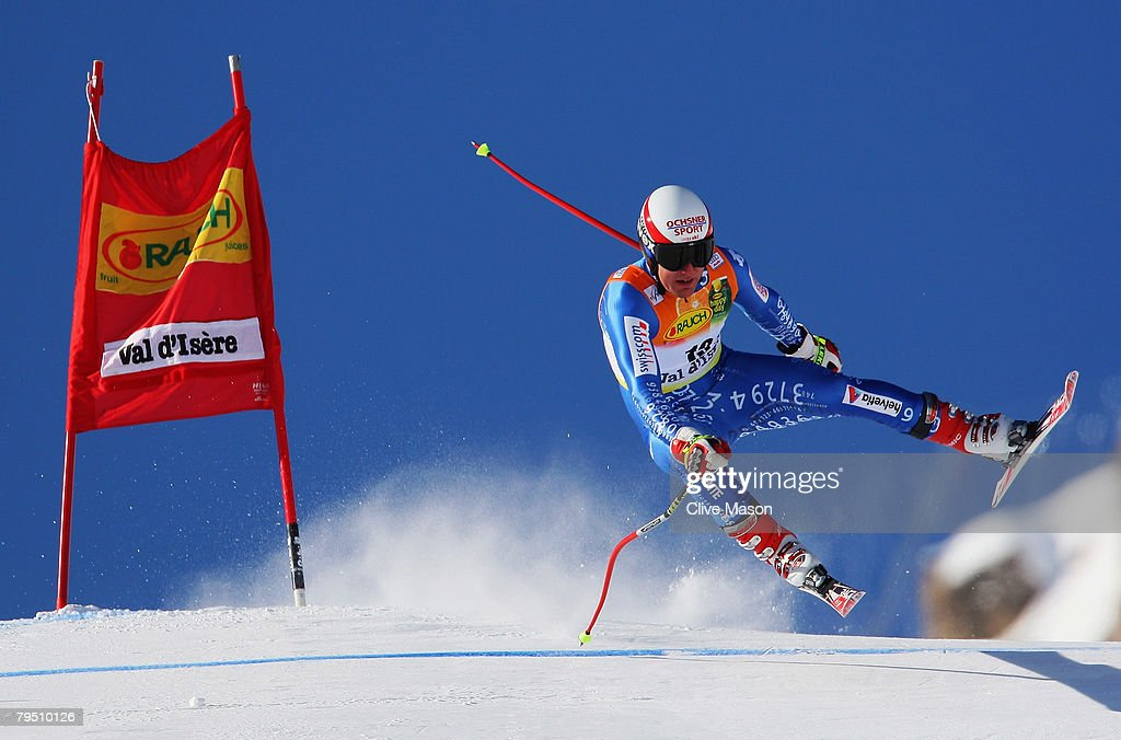 Daniel Albrecht of Switzerland in action during the downhill section of the super combined event of the Mens FIS Ski World Cup on February 3, 2008, in Val d'Isere, France.