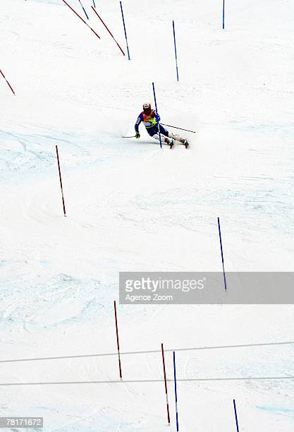 Daniel Albrecht of Switzerland skis in the slalom portion as he won the Men's Super Combined at the FIS Alpine World Cup on the Birds of Prey at...