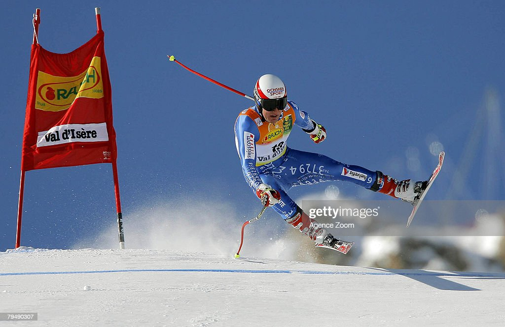 Daniel Albrecht of Switzerland takes 7th place during the FIS Alpine ski World Cup Men's Super Combined event on February 3, 2008 in Val D'Isere, France .