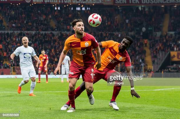 Daniel Alexander Larsson of Teleset Mobilya Akhisarspor Sinan Gumus of Galatasaray SK Bafetimbi Gomis of Galatasaray SK during the Ziraat Turkish Cup...