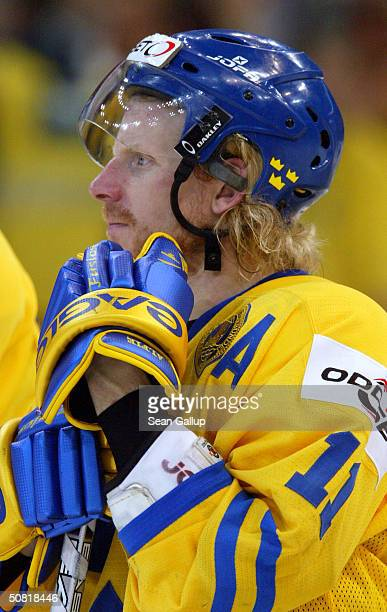 Daniel Alfredsson of Sweden rests after his team's loss in the finals against Canada at the International Ice Hockey Federation World Championship...