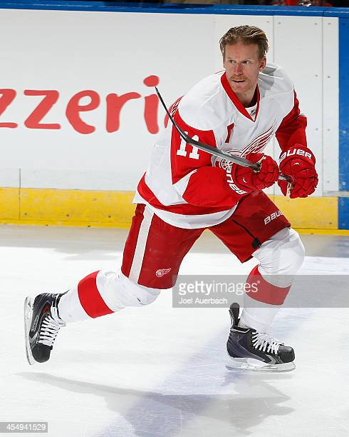 Daniel Alfredsson of the Detroit Red Wings skates prior to the game against the Florida Panthers at the BBT Center on December 10 2013 in Sunrise...