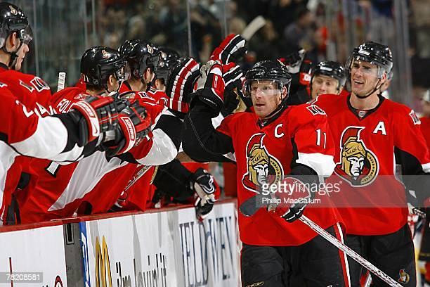 Daniel Alfredsson of the Ottawa Senators approaches the bench during the NHL game against the Nashville Predators at Scotiabank Place on November 29...