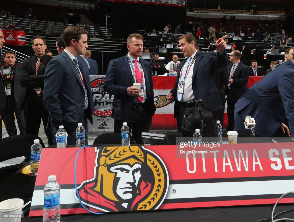 Daniel Alfredsson (C) of the Ottawa Senators attends the 2017 NHL Draft at the United Center on June 24, 2017 in Chicago, Illinois.