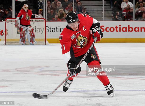 Daniel Alfredsson of the Ottawa Senators fires a slapshot against the Detroit Red Wings at Scotiabank Place on January 12 2008 in Ottawa Ontario...