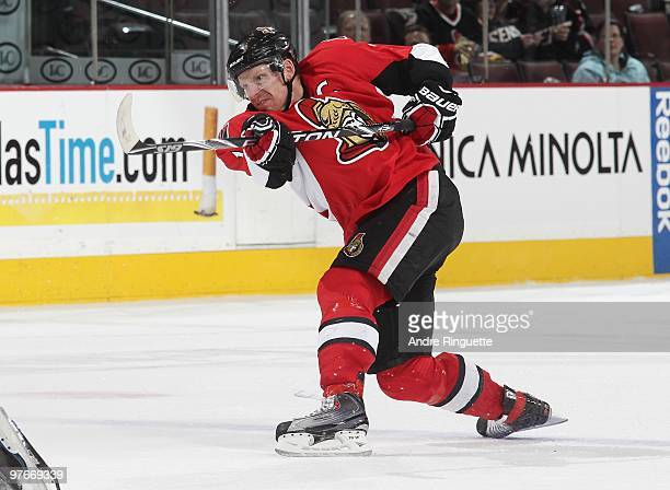 Daniel Alfredsson of the Ottawa Senators follows through on a slapshot against the New York Rangers at Scotiabank Place on March 2 2010 in Ottawa...