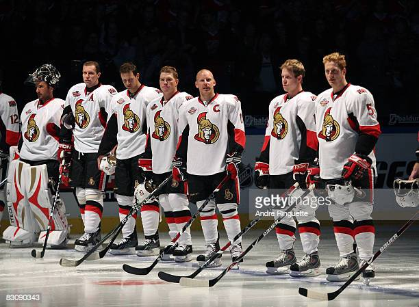 Daniel Alfredsson of the Ottawa Senators looks on during pregame ceremonies before playing the Frolunda Indians at Scandinavium Arena on October 2...