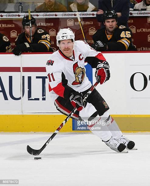 Daniel Alfredsson of the Ottawa Senators skates against the Boston Bruins at Scotiabank Place on April 7 2009 in Ottawa Ontario Canada