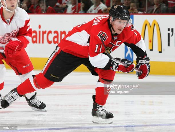 Daniel Alfredsson of the Ottawa Senators skates against the Detroit Red Wings at Scotiabank Place on January 12 2008 in Ottawa Ontario