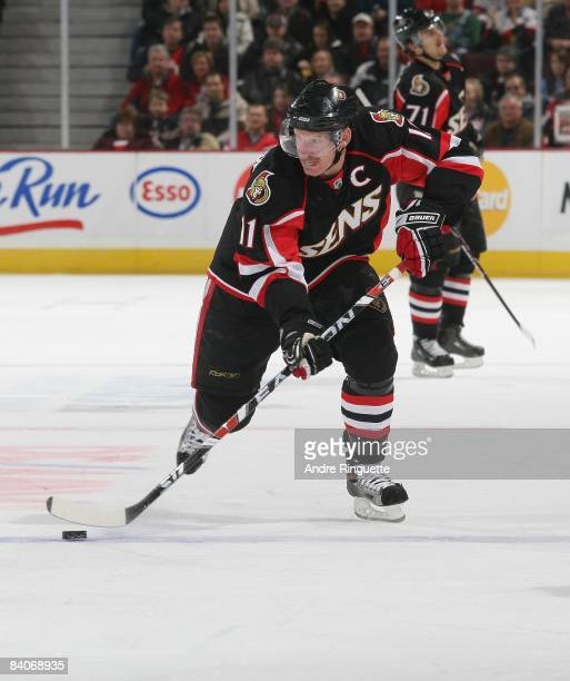 Daniel Alfredsson of the Ottawa Senators skates against the Pittsburgh Penguins at Scotiabank Place on December 6, 2008 in Ottawa, Ontario, Canada.