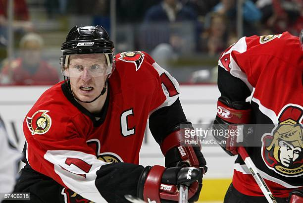 Daniel Alfredsson of the Ottawa Senators skates against the Tampa Bay Lightning in game two of the Eastern Conference Quarterfinals during the 2006...