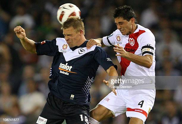Daniel Allsop of the Victory heads the ball during the round 24 ALeague match between the Melbourne Victory and the Melbourne Heart at Etihad Stadium...
