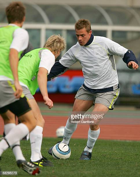 Daniel Allsop of the Victory in action during the Melbourne Victory FC Training session at Olympic Park on July 28 2005 in Melbourne Australia