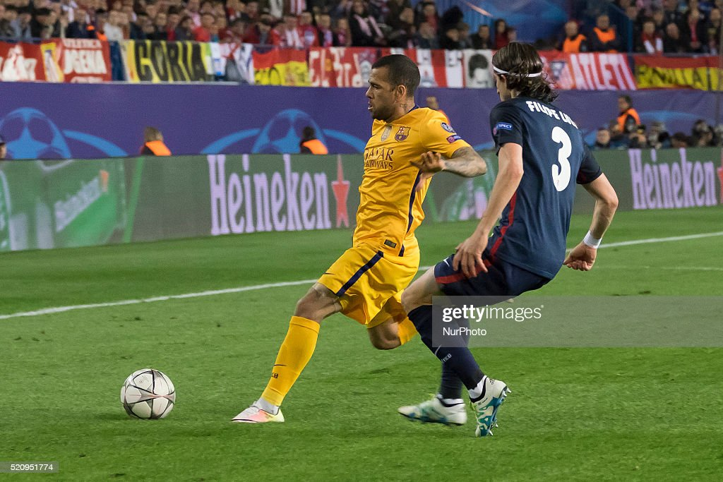 Daniel Alves da Silva of Barcelona during the UEFA Champions League quarter final, second leg match between Club Atletico de Madrid and FC Barcelona at the Vincente Calderon on April 13, 2016 in Madrid, Spain.