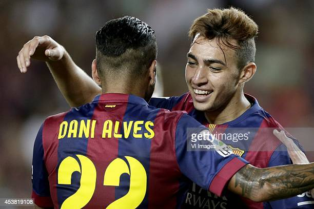 Daniel Alves da Silva of FC Barcelona Munir El Haddadi of FC Barcelona during the Joan Gamper Trophy match between FC Barcelona and Leon FC at Camp...