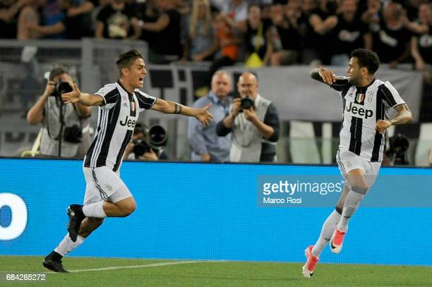 Daniel Alves Da Silva of FC Juventus celebrates a opening goal during the TIM Cup Final match between SS Lazio and Juventus FC at Olimpico Stadium on...