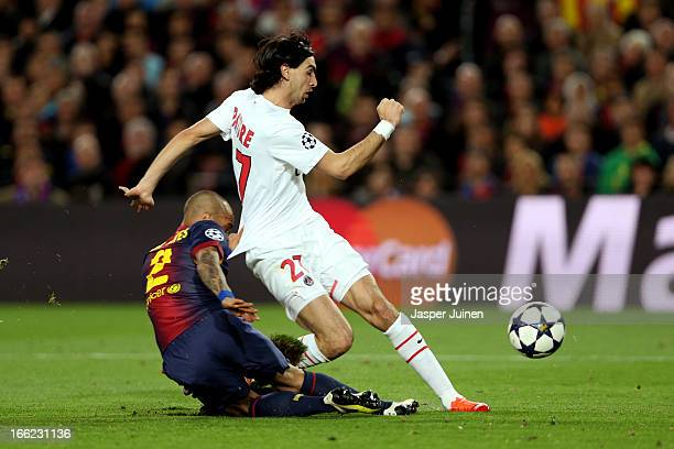 Daniel Alves of Barcelona fails to stop Javier Pastore of PSG score the first goal during the UEFA Champions League quarterfinal second leg match...