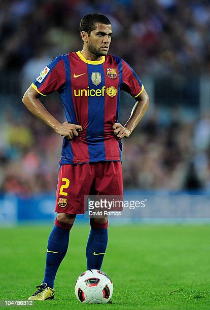 Daniel Alves of Barcelona looks on prior taking a free kick during the La Liga match between Barcelona and Mallorca at the Camp Nou stadium on...