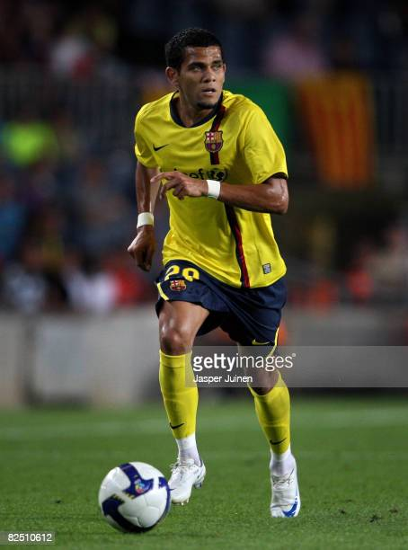 Daniel Alves of Barcelona runs with the ball during the UEFA Champions League third Qualifying Round first leg match between Barcelona and Wisla...