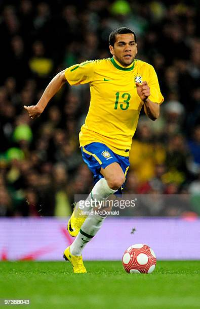 Daniel Alves of Brasil in action during the International Friendly match between Republic of Ireland and Brazil played at Emirates Stadium on March 2...