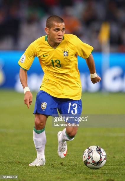 Daniel Alves of Brazil in action during the FIFA Confederations Cup match between Brazil and Egypt at The Free State Stadium on June 15, 2009 in...